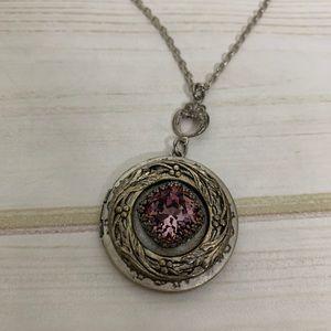 Purple locket necklace silver